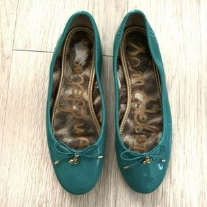 Sam Edelman Felicia Ballet Flats Teal Patent 7 M